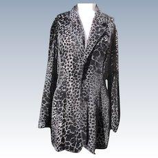 Jacket Blouse Sheer Elegant  Black Silk Tapestry Fabric Long Size Small 1980's