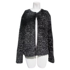 Black Sweater Hand Knitted Vintage Soft  Cardigan