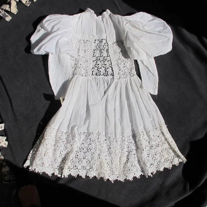 Victorian Era Dress for Girl Christening Gown Linen Pleated ...
