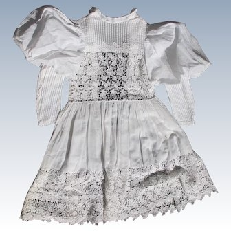 Victorian Era Dress for Girl Christening Gown Linen Pleated Embroidery