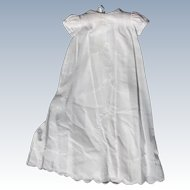 Vintage Christening Dress for Baby White with Scalloped Hem