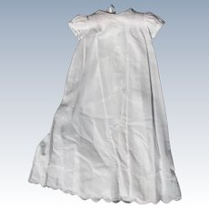 Vintage Christening Dress for Baby White with Scalloped Hem