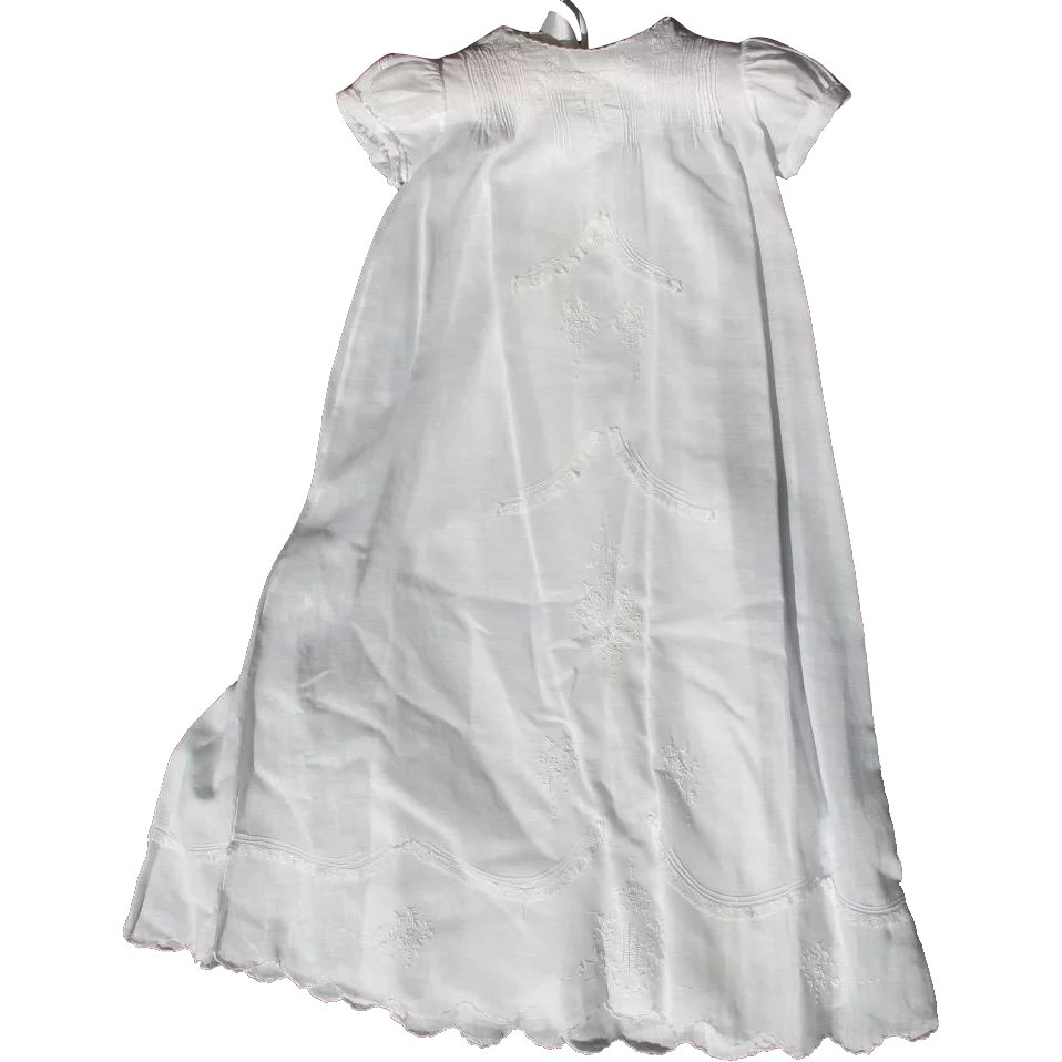 72c33f069c0 Vintage Christening Dress for Baby White with Scalloped Hem   Time in a  Bottle