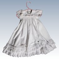 Vintage Baby Dress for Christening White Pink Flowers Bows