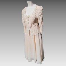 Dress Suit Lace Jacket Organza Satin Skirt 1990's Size 7/8