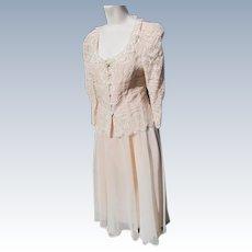 Dressy Dress Suit Lace Jacket Organza Satin Skirt 1990's Size 7/8