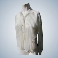 Sheer Blouse Vintage 1940's-50s Rhinestones & Pleats Clean