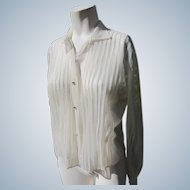 Sheer Blouse Vintage 1940's-50s Rhinestones & Pleats Clean