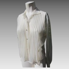 Sheer Blouse Vintage 1950's Rhinestones and Pleats