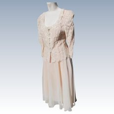 Dress Suit Skirt and Jacket Feminine Lace with Chiffon 1980's from X Playboy Bunny