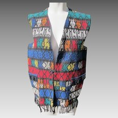 Cotton Vest Long Guatemala Hand Made Ethnic Animals Fringe JFK Provenance 1960's.