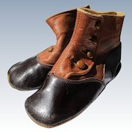 Baby Shoes for Doll 1922 Black Brown Leather
