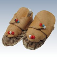 Leather Doll Shoes Indian Moccasins with Beads Real Leather