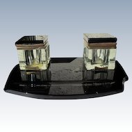 Art Deco Inkwell Black Marble Glass Large