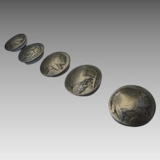 Button Covers Five 1930's Indian Nickel / Buffalo Head