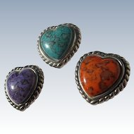 Button Covers Three Hearts Orange Turquoise Purple