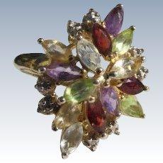 Sterling Silver Ring Multi Gemstones Peridots Garnets Amethyst Size 8