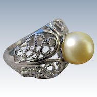 Sterling Silver Cultured Pearl Ring 9.5mm Size 8 Ring