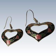 Vintage Enamel Earrings Heart Shaped Butterflies Flowers 1980's