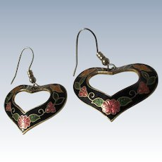 Vintage Enamel Earrings Heart Shaped Butterflies Flowers 1980's
