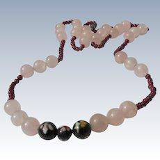 Beaded Necklace Pink Quartz with Cloisonné Beads