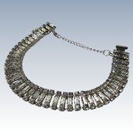 Vintage Rhinestone Bracelet with Chain Lock