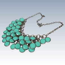 Beaded Necklace Turquoise  Aqua and Silver Chain
