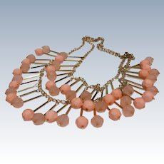Vintage Beaded Necklace Peach with Gold Color Chain Light and Fun
