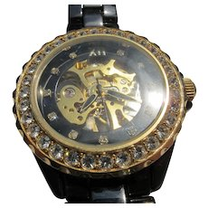 Watch of Moving Parts Jeweled Framed Stainless Steel