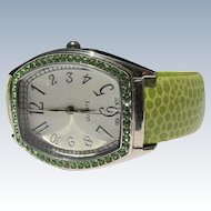 Bracelet Watch Green Simulated Skin Jeweled Face Frame