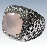 Sterling Silver Ring Pink Rose Quartz Stone Crystals