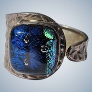 Dichroic Glass Ring Sterling Silver