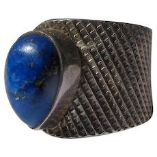 Sterling Silver Ring Lapis Lazuli Stone Vintage Size 7 1/2