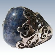 Sterling Silver Ring with Lapis Stone  Nepal Size 8
