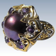 Culture Pearl Ring Purple with Sterling Silver Band Amethyst Crystal Stones