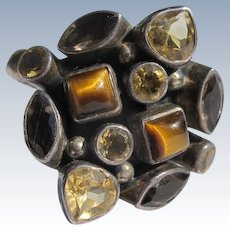 Sterling Silver Ring with Citrine Tiger Eye and Topaz Stones