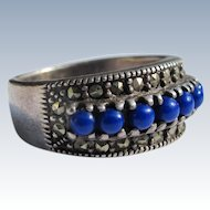 Sterling Silver Ring with  Lapis Lazuli Stones