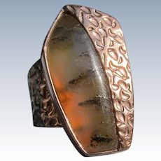 Copper Ring Agate Stone Size 7.5