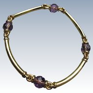 Sterling Silver Bracelet Gold Wash with Cut Glass Beads