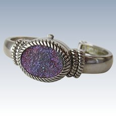 Ladies Watch Druzy Stone Silver Bangle Style Bracelet