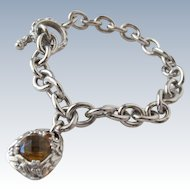 Sterling Silver Bracelet Chain Citrine Cut Gem Stone