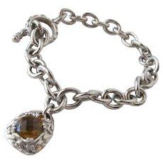 Sterling Silver Bracelet Chain Citrine Cut Gem Stone