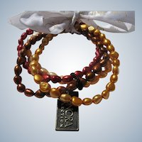 Cultured Honora Pearl Bracelets Four in Autumn Colors