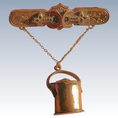 Victorian Vinaigrette Brooch Pin Pail Date 1881