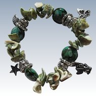 Bracelet of Aqua Turquoise Shells and Charms