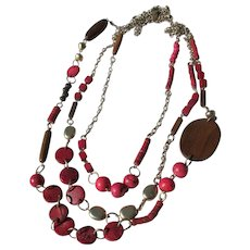 Beaded Necklace of Wood and Chains Never Worn Chico 1990's