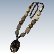 Clunky Necklace with Pendant Large Beads