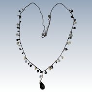 Dainty Necklace Silver Chain Glass Beads and Pearls