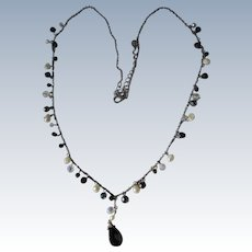 Pearl Necklace Silver w Chain Glass Beads