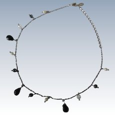 Chain Necklace with Saltwater Pearls and Glass Beads